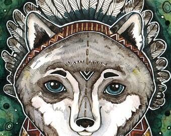 Wolf Watercolor Painting Wolf Art Print Wolf Nursery Decor Boho Print Animal Southwestern Print Art Tribal Wall Print Tribal Animal Print
