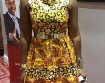 Orange Dress/ African print dress/