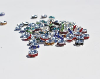 6mm x 3mm Assorted Color Rhinestone Spacers, Unique Spacer Beads, Sparkly Beads, Rhinestone Beads, Rhinestone Spacer Beads, #RS2