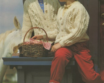 Childrens Aran Cardigan PDF Knitting Pattern : Boy or Girl 24, 26, 28, 30, 32 and 34 inch chest . Instant Digital Download