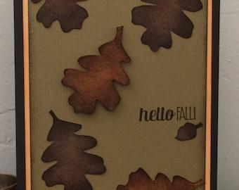 Handmade Greeting Cards-Thanksgiving Fall Leaves, Oak Tree, 1 card Notecard