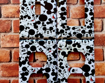 Disney Mickey Mouse Face Patterns light switch plate cover nursery kids room decor home decor