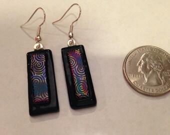 Fused Glass Dangle Earrings - Rainbow Swirl Pattern on Black