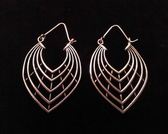 Tribal silver plated earrings.Tribal leaf earrings.Silver plated.Tribal jewelry.Gift for her.Tribal creole.Boho earring.Tibetan earrings.