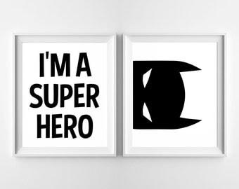 I'm A Super Hero - Batman - Nursery Printable Poster - Wall Art, Kid Bedroom Decor, Boy, Superhero