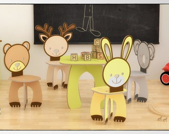 KIDS' TABLE and animals CHAIRS set - cnc template cutting file - wooden  table - aninimals chair - laser cut - cutting - template plants