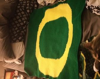 Oregon Ducks Crochet baby blanket