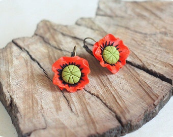 Red poppy earrings Bridesmaids jewelry Folk flower earrings for girl gift ideas for her Poppy floral jewelry Mother day gift Bridal earrings