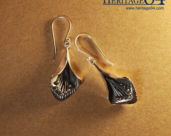 Silver earrings, Flower Drop Earrings, Handmade 925 sterling silver, leaf earrings, leaves earrings, flower earrings, long earrings, ON SALE