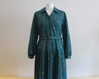 Vintage 1980's Teal Chain Pattern Button-up Dress (Size 12 - 14 (UK))