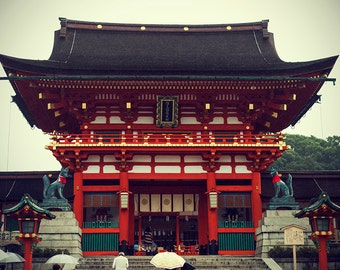 japan, photography, buddhism, fushimi inari, shrine, red temple, kyoto, photo, buddhist, art, print, poster