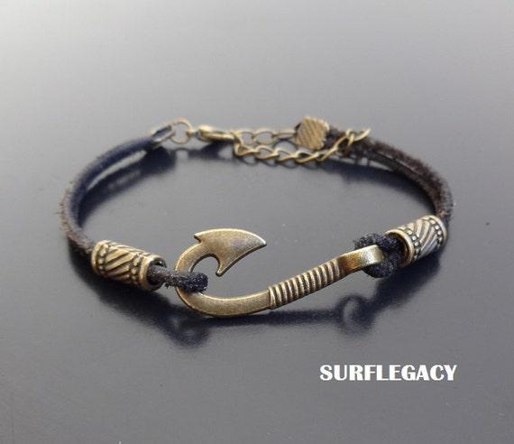 Fish hook leather bracelet hook bracelet leather wrap for Mens fishing bracelet