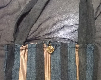 Denim & Gold Striped Shoulder Bag Upcycled