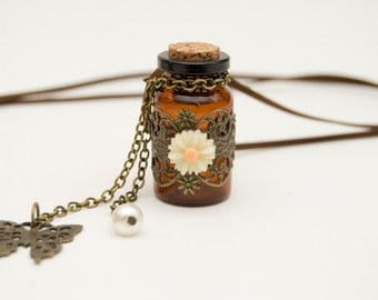 Wish Bottle Necklace - Urn Pendant - Message In A Bottle Necklace