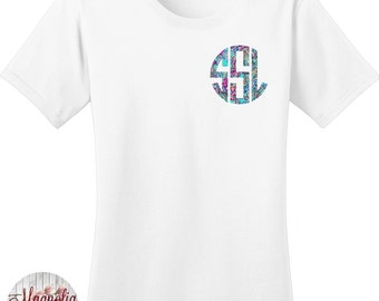 Custom Monogram Print Women's T-shirt in 7 Different Colors in Sizes Small-4X, Plus Sizes, Lilly Pulitzer Inspired