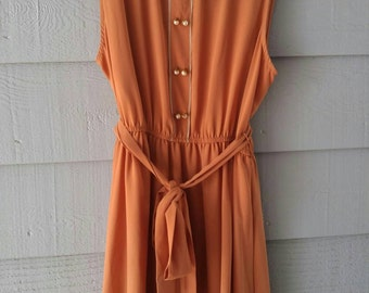 Vintage Pearl Pumpkin Orange Dress