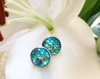 Sparkly Seafoam teal mermaid earrings 12mm