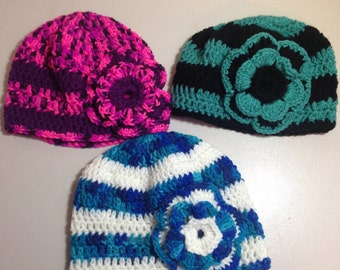 Stiped Beanie Hat with Flower