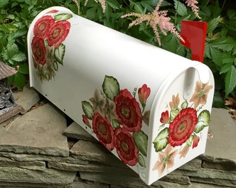 burgundy floral mailbox hand painted post mailbox decorative mailboxes custom mailboxes residential - Decorative Mailboxes