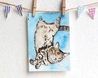 Tabby Cat Painting Miniature Art Sleeping Kitty ACEO Card by Natalie Heaven - 'Dream Land' OOAK Original