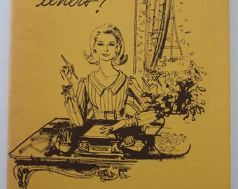 """Letter Writing Guide Book, Eaton's Stationery since 1893 ~ Etiquette Ephemera, """"It's Fun To Write Letters!"""" by Jane Eaton ~ 1969 Pamphlet"""