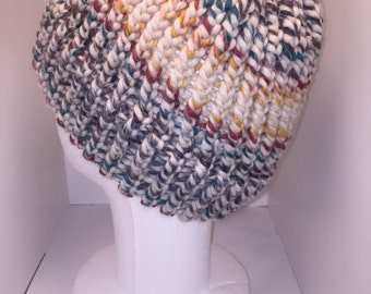 Rainbow Knit Hat  - Adult - Vintage inspired