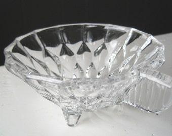Vintage Mid Century Pressed Glass Sugar Bowl - Retro Cottage Chic Shabby Norwegian Pressed Glass