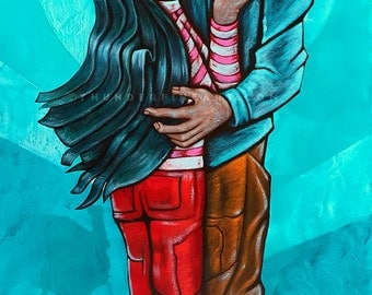"Lovers - Moon - First Kiss Print - Oversized - 24""x12"" - Modern Wall Art - Jonathan Thunder"