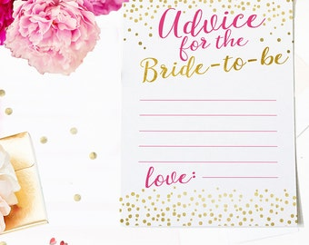 Azalea Pink and Gold Advice for the Bride to be card Printable- Bridal Shower Advice Card Modern Clean Advice Card - Instant Download - BS10