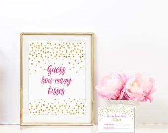 Guess How Many Kisses 8x10 Sign Includes Guess Cards - Azalea Pink and Gold Bridal Shower Game -Instant Download - BS10