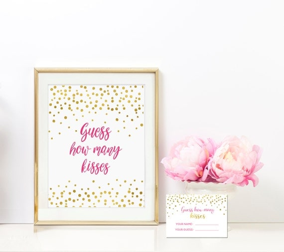 Guess How Many Kisses 8x10 Sign Includes Guess Cards - Azalea Pink and Gold Bridal Shower Game