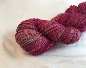 Hand-dyed sock yarn rose