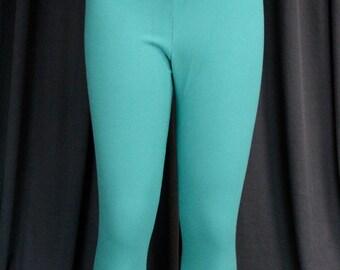 "Capri Leggings Pants Cotton Lycra teal - with 2"" Cross-in-Front Waistband - Size 12 - Dancewear dance Active Wear Gymnastics Yoga Fitness"