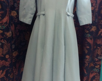 Very pretty dress in sky-blue ottoman 1950