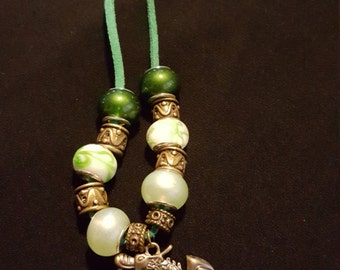 Pewter and green beaded dragon necklace