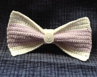 White and Purple Knitted Bow