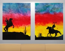 Cowboy Art, Indian Art,  Melted Crayon Art, Nursery Art, Cowboy and Indians, Sunset, Canvas Art, Abstract Art, Silhouette Art, Crayon Art,