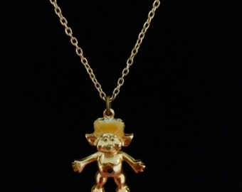Vintage Gold Tone Troll Charm and Necklace