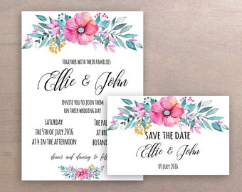 Printable Wedding Invitation Set | Floral wedding invitation + save the date card
