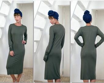 Women's midi knit dress, t shirt dress, long sleeve dress