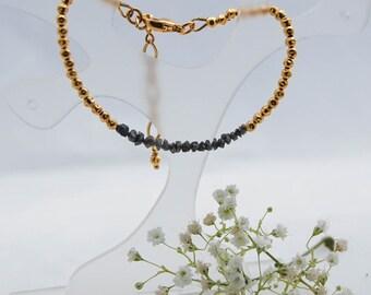 Diamond and Gold layer bracelet, Dainty rough diamond bracelet, Stacking bracelet, Grey diamond bracelet, Gold Vermeil bracelet,