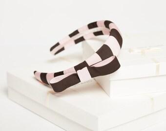 Bow padded headband Padded striped headband Padded hairband Girls headband