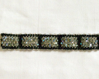 Black and bling beaded cuff