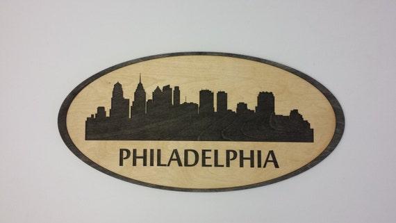Philadelphia Skyline Cityscape - 24 x 12 Custom Laser Cut - Wall Hanging Art - City Silouette