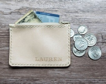 handmade Leather Coin Wallet- Card and cash holder- Zipper closure