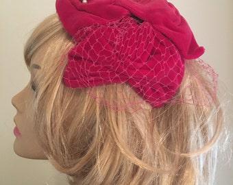 Vintage Pink Velvet Fascinator with Netting, Fuscia Fascinator, 50's Pink Fascinator