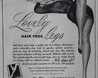 Vintage 1946 E Z Hair Removing Glove Ad Helen Neushaefer Beautiful Pin-Up Art