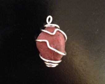 Wire Wrapped Stone Pendant in Rust Red