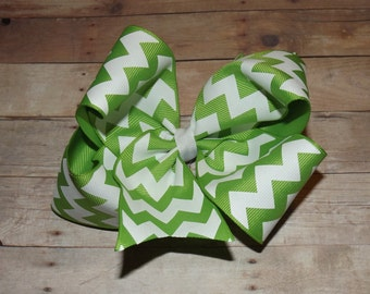 "6"" Lime Green Chevron Print Boutique Hair Bow"