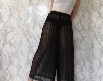 1980s black sheer pleated culottes | wide leg palazzo pants